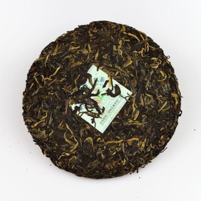 2007 Manxi Mountain Organic Pu'erh Raw Tea Cake 380g inside